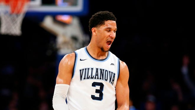 Villanova Wildcats guard Josh Hart (3) reacts after three-point shot against Seton Hall Pirates during the Big East Conference Tournament Semifinals. Villanova is expected to be the overall No. 1 seed in the 2017 NCAA Tournament.