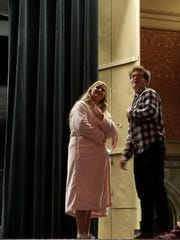 """Julia Brooks (senior) and Luc Marchessault (junior) perform in the Greendale HS Theatre's production of """"It's a Wonderful Life."""""""