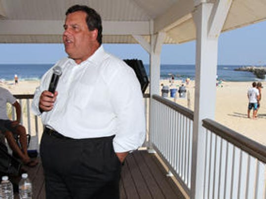 Gov. Chris Christie speaks during a town hall meeting at the Manasquan pavilion at the inlet in July 2012. He's due back by the beach, this time in Long Branch, for a town hall today. (STAFF PHOTO BY THOMAS P. COSTELLO)
