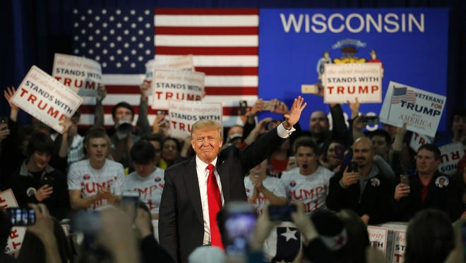 Republican presidential candidate Donald Trump speaks at an event in Rothschild.