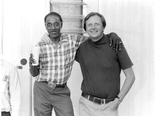 """Mississippi Fred with Chris Strachwitz of California's Arhoolie label, which released McDowell's first full-length album. Strachwitz, who recorded McDowell in California, Como and London, appears in the new documentary, """"Shake 'Em on Down."""""""