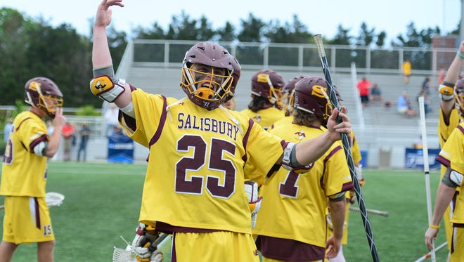 Salisbury's Kyle Tucker celebrates after beating Denison University during the NCAA Division III Semifinals at Seagull Stadium on Sunday, May 21, 2017.