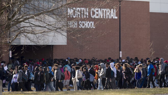 North Central High School students took part a 17-minute walkout on March 14, 2018, during the National School Walkout.