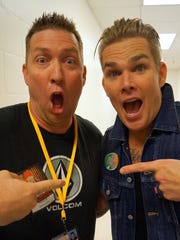 Heath Chapman of FLORIDA TDOAY's Zap Squad and Mark McGrath of Sugar Ray clown around between shows at the King Center in Melbourne on Nov. 14, 2015.