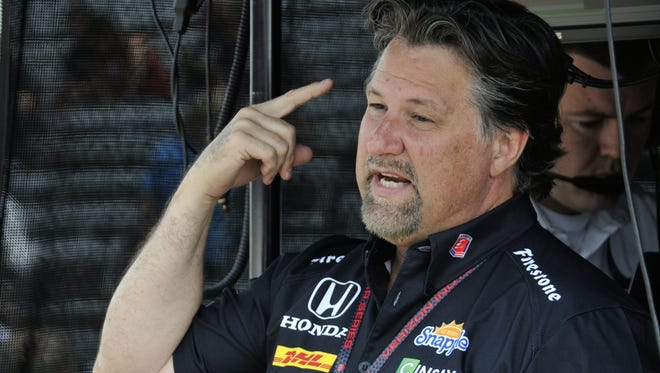 FILE -- Team principal Michael Andretti makes a point about practice on Fast Friday at the Indianapolis Motor Speedway on May 15, 2015.