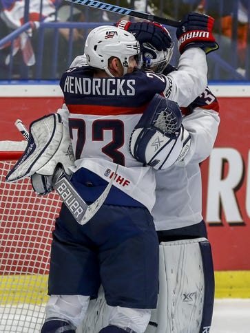 U.S. players celebrate after beating Norway at the