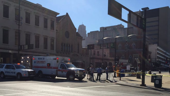 Cincinnati police and fire respond to Plum Street between Eighth and Seventh streets for a report of a suspicious package