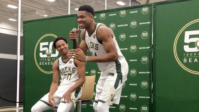 Milwaukee Bucks Giannis Antetokounmpo, right, tells a poop joke while on stage with Rashad Vaughn at media day at the new Froedtert & the Medical College of Wisconsin Sports Science Center on N. 6th St. on Monday, September 25, 2017.     - Mike DeSisti / The Milwaukee Journal Sentinel