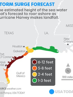 Map shows the amount of expected storm surge along the Texas and Louisiana coast.