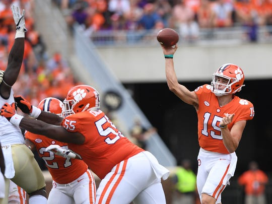Clemson quarterback Hunter Johnson (15) passes against Wake Forest during the 4th quarter on Saturday, October 7, 2017 at Clemson's Memorial Stadium.
