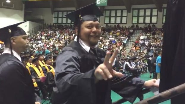 In this file photo, a student gets ready to walk on stage and become a graduate of the Guam Community College.