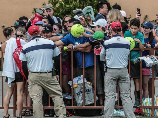 Simona Halep signs autographs for fans on the first Wednesday of the BNP Paribas Open on March 7, 2018 in Indian Wells, CA.