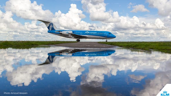 KLM's final Fokker airplane.