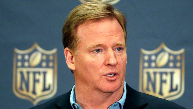 In this March 25, 2015, file photo, NFL Commissioner Roger Goodell addresses the media at a news conference at the NFL Annual Meeting in Phoenix. The National Football League is giving up its tax-exempt status. In a letter to team owners, Goodell said the league office and its management council will file tax returns as taxable entities for the 2015 fiscal year. Goodell says the NFL has been tax-exempt since 1942, though all 32 teams pay taxes on their income.