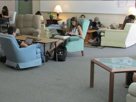 The Habitat for Humanity donated the couches and other furnishings in Adam Emmer's classroom at Summit High School.