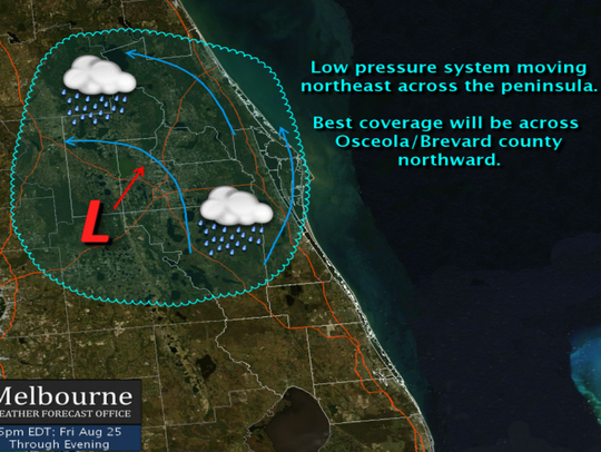 A low-pressure system is bringing rain to the Treasure