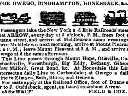 An advertisement in the Oct. 5, 1843, New York Evening Post for boat, railroad and stage travel throughout central New York.