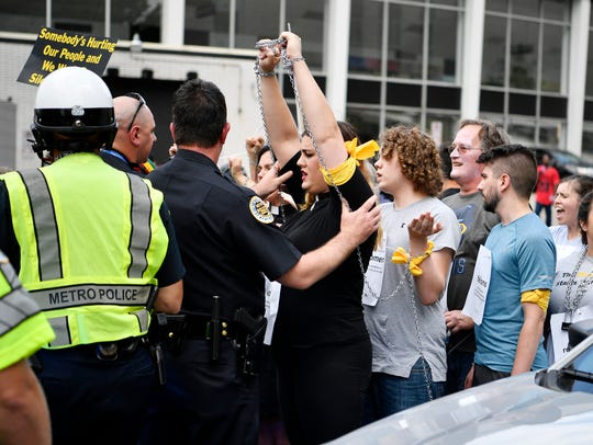 Metro Nashville Police stop protesters, part of the