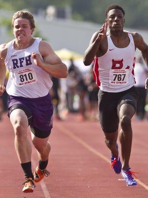 Rumson-Fair Haven's Charlie Volker wins the 100 meter in 10.81. Track & Field Meet of Champions at Jost Field in South Plainfield. South Plainfield, NJ Wednesday, June 03, 2015 Doug Hood/Staff Photographer @dhoodhood