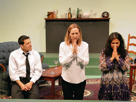 """Starring in """"Mad Gravity,"""" opening today at the Black Box Theatre, are from left, Rafael Medina, Marissa Bond and Britney Stout."""