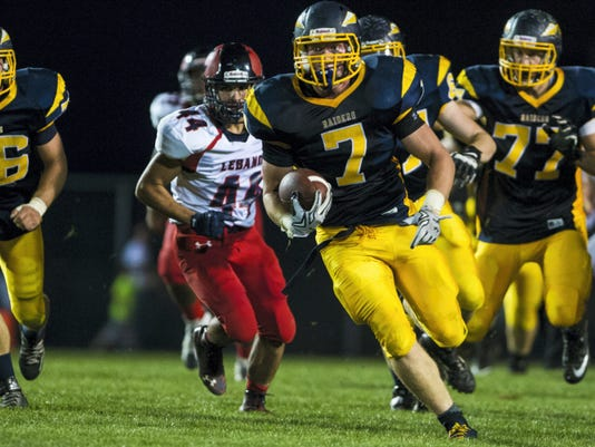 In this file photo, Elco's Tyler Horst finds running room. Lebanon defeated Elco 20-19 at Elco to secure their first win of the season on Friday, September 18, 2015.