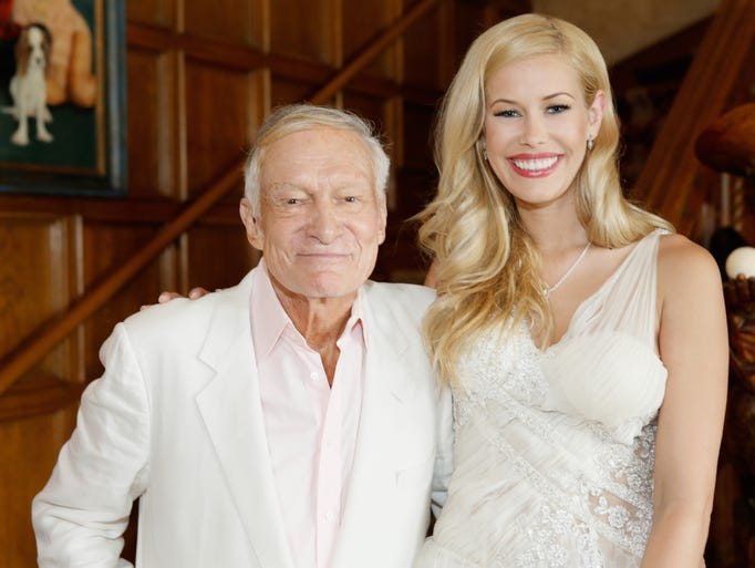Playboy Founder and Editor in Chief Hugh M. Hefner (L) and 2014 Playmate Of The Year Kennedy Summers attend Playboy's 2014 Playmate Of The Year Announcement and Reception at The Playboy Mansion on May 15, 2014 in Holmby Hills, California.