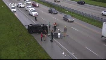 A rollover crash happened north of Viera Friday on Interstate 95.
