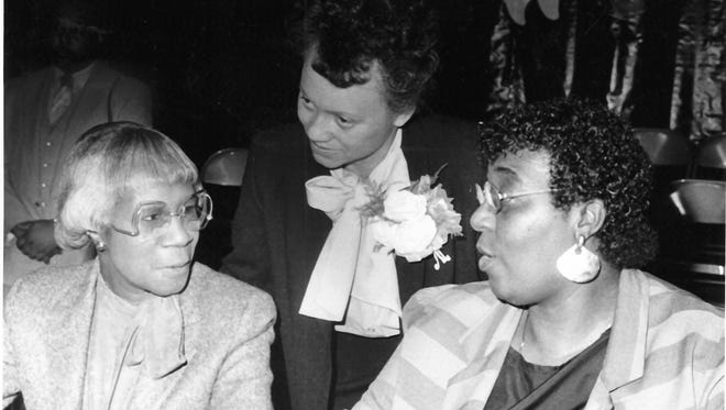 At the MLK Prayer Breakfast in 1986 were keynote speaker Shirley Chisholm, event founder Oralene Simmons and committee member Phyllis Sherrill.
