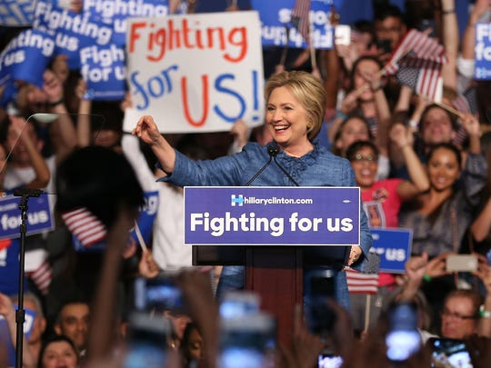 Hillary Clinton celebrates in West Palm Beach on Tuesday