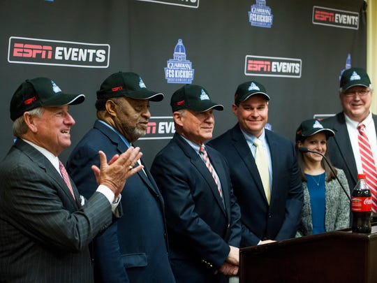 Montgomery Mayor Todd Strange, from left, County Commission Chairman Elton Dean, Senior VP of ESPN Events, Guardian Credit Union CEO Heath Harrell, Guardian Credit Union Marketing Manager Rachel Stewart, and Executive Director of the Camellia Bowl Johnny Williams during a FCS Kickoff press conference, in Montgomery, Ala. on Tuesday March 21, 2017.