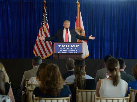 Donald Trump holds a press conference on July 27, 2016,