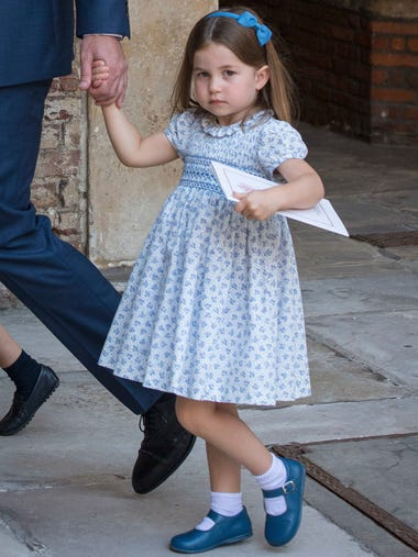 Princess Charlotte was a vision in blue-and-white,