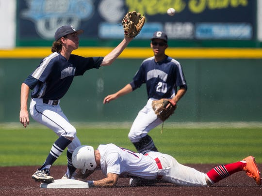 Veterans Memorial player slides into second base against Boerne Champion in the regional semifinal on Saturday, May 26, 2018, at Cabinss Field.