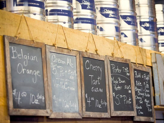 The beer list at Narrow Path Brewing Co. in Loveland.