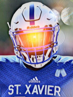 Sunshine hits the visor of St. Xavier's Bobby Jefferson as the Bombers faced Hinsdale Central (Ill.) on Aug. 26, 2017 to open the season.