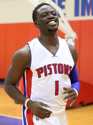 Sep 26, 2016; Detroit, MI, USA; Pistons guard Reggie Jackson smiles during media day at the Pistons Practice Facility.