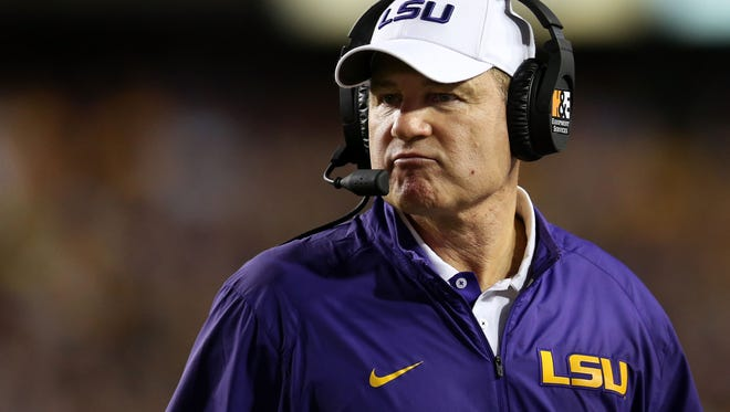 Head coach Les Miles of the LSU Tigers look on during the game against the Texas A&M Aggies at Tiger Stadium on Nov. 28, 2015 in Baton Rouge, Louisiana.