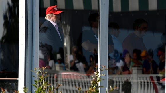 President Donald Trump is seen in the skybox during the final round of the 72nd U.S. Women's Open at Trump National Golf Club in Bedminster, NJ on Sunday, July 16, 2017.