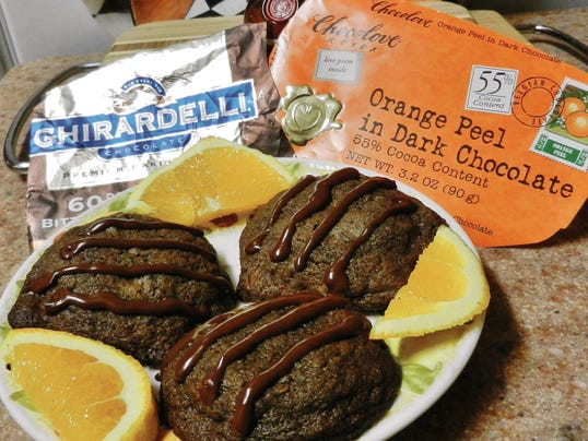 Courtesy   The Happy Baker's double chocolate chunk orange cookies.