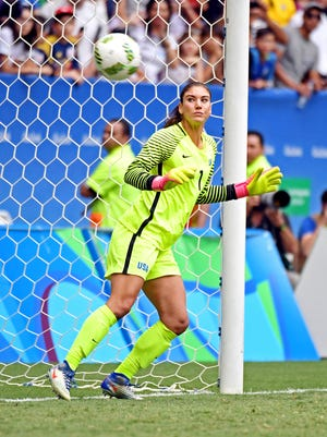 United States goalkeeper Hope Solo (1) in a match against Sweden during the women's football quarterfinals in the Rio 2016 Summer Olympic Games.