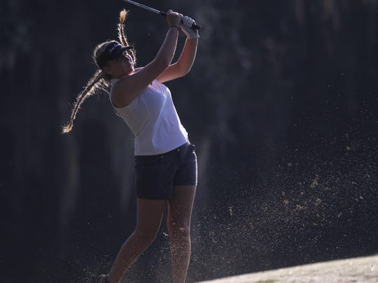 Franklin County senior Megan Collins hits a tee shot on Capital City Country Club's third hole during Thursday's Big Bend Championship.