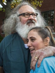 Randy and Evi Quaid celebrate after being released from custody at Vermont Superior Court in St. Albans on Thursday, October 15, 2015.