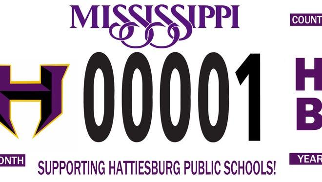 Hattiesburg Public School District Foundation's specialty car tag.