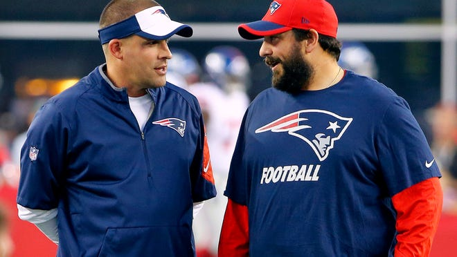 If the New York Giants want to hire Patriots offensive coordinator Josh McDaniels, left, or Patriots defensive coordinator Matt Patricia, right, they'll have to wait until New England is eliminated from the playoffs.