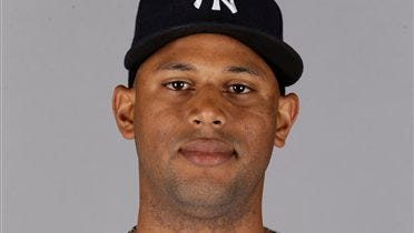Outfielder Aaron Hicks of the New York Yankees.