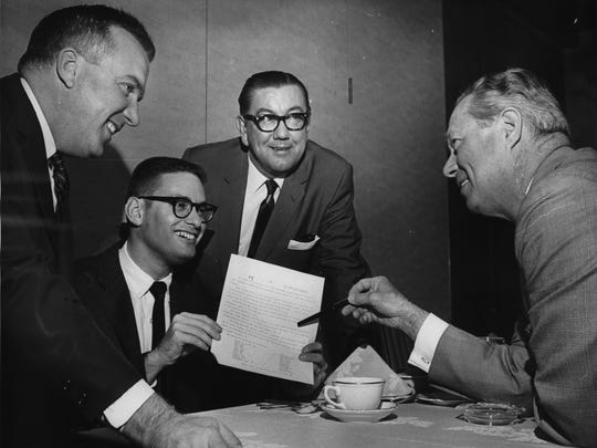 "Bud Selig (second from left) is all smiles as the Chicago White Sox announce plans to play 11 regular-season  ""home"" games at Milwaukee's County Stadium during the 1969 season, on Oct. 29, 1968. Also at the announcement, held at the Pfister Hotel, were (from left) Edmund B. Fitzgerald, vice president of Milwaukee Brewers Baseball Inc.; Ed Short, general manager of the White Sox; and Stu Holcomb, White Sox vice president in charge of public relations. This photo was published in the Oct. 30, 1968, Milwaukee Sentinel."
