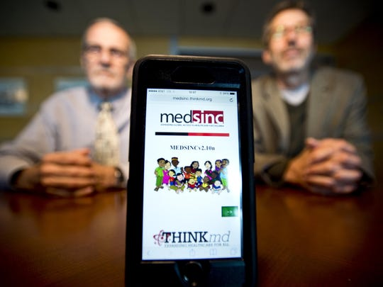 From left, Barry Heath and Barry Finette, founders of ThinkMD, have developed an app, Medsinc, that they hope will end child deaths from treatable diseases that become fatal when there's a lack of access to health care.