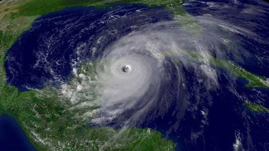 Hurricane Wilma spins near the Yucatan Peninsula in October 2005.