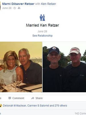 A Facebook post from Cape Coral Mayor Marni Retzer, formerly Sawicki, appearing to announce her recent marriage to Cape Coral Fire Department Lt. Kenneth Retzer