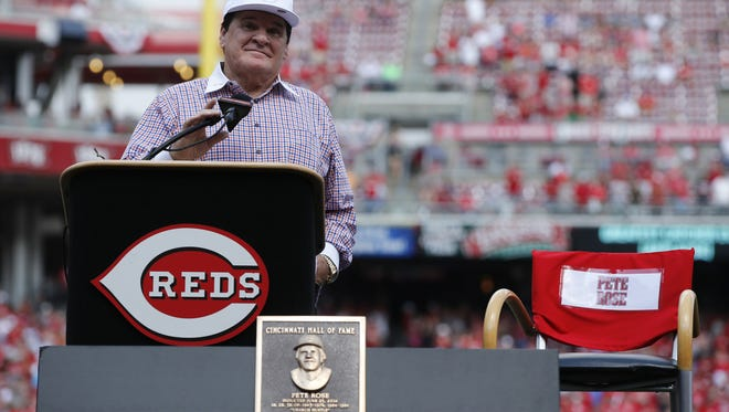 2016 Cincinnati Reds Hall of Fame inductee Pete Rose speaks during a ceremony to honor him before the MLB game between the San Diego Padres and Cincinnati Reds, Saturday, June 25, 2016, at Great American Ball Park in Cincinnati.